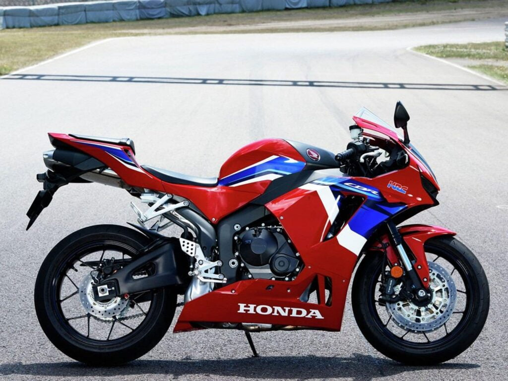 2021 Honda CBR600RR on a racetrack, side view