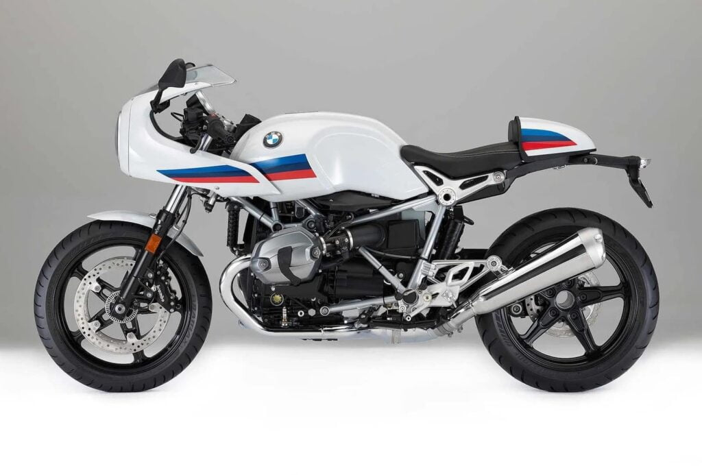 BMW R Nine T racer white - side profile view