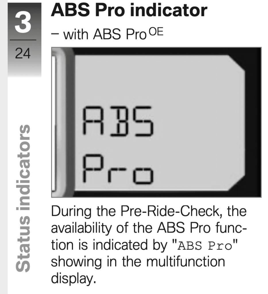BMW ABS Pro indicator on motorbike at startup