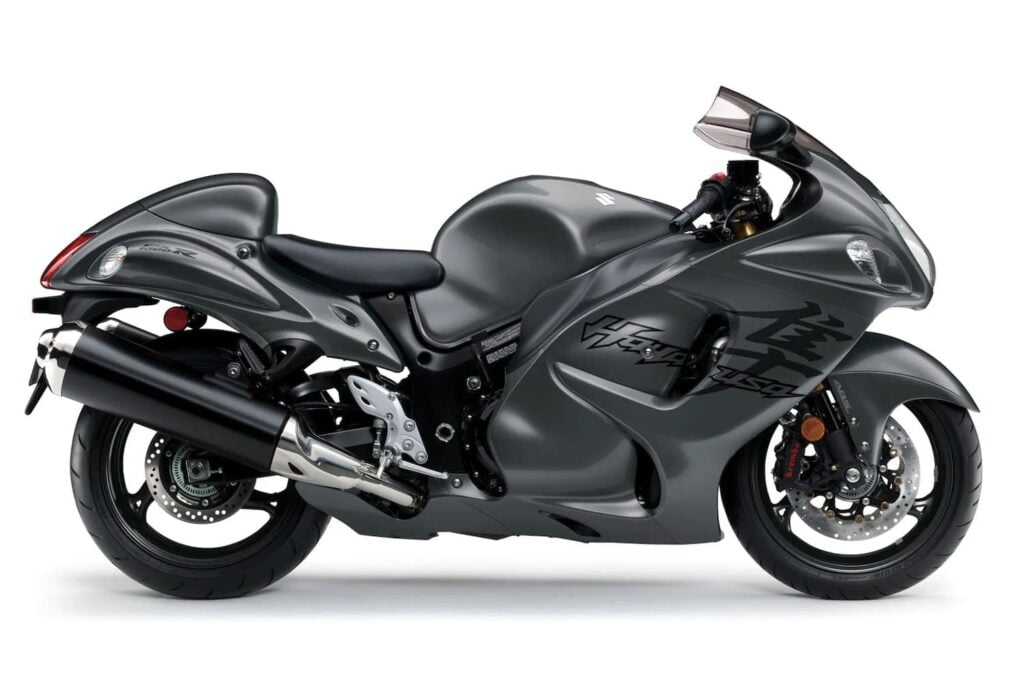 Suzuki in graphite grey Hayabusa — still a beautiful motorcycle after all these years