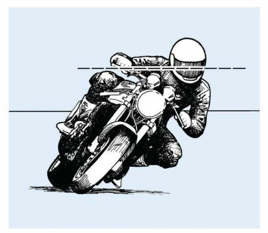 Keeping your eye level in the turn - explained visually in Proficient Motorcycling
