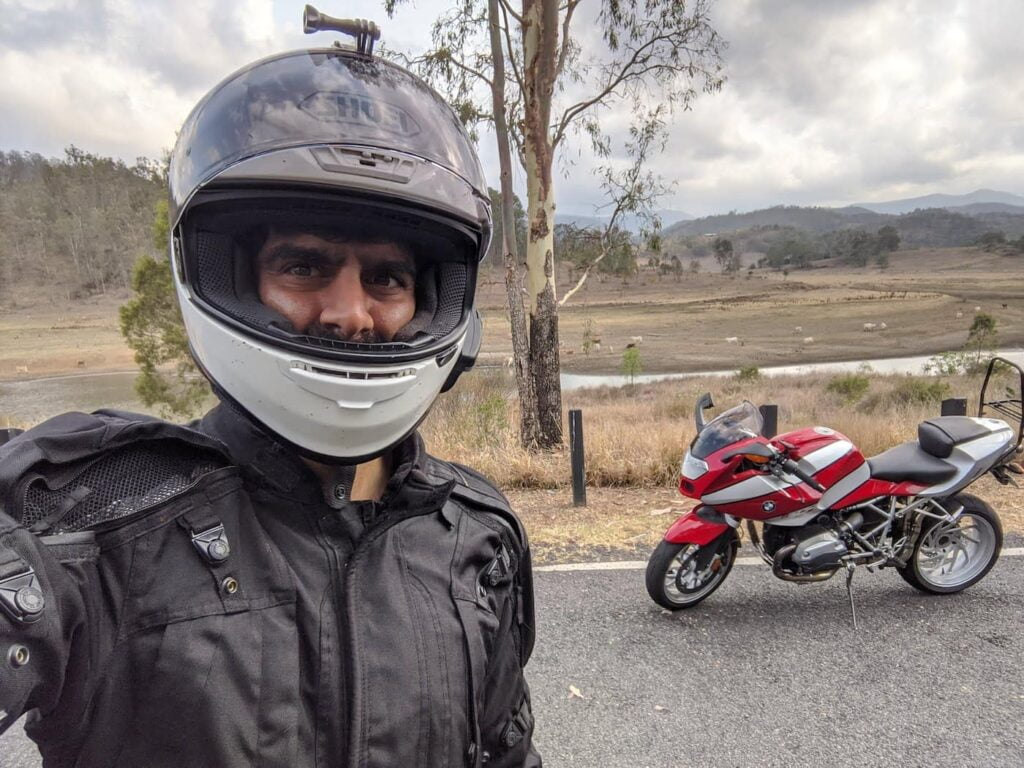 Dana wearing Shoei RF-1200, part of Shoei RF-1200 review