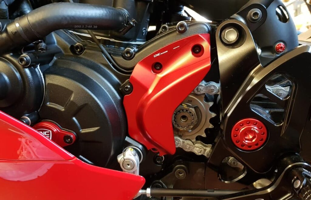 front sprocket gearing on a Ducati motorcycle