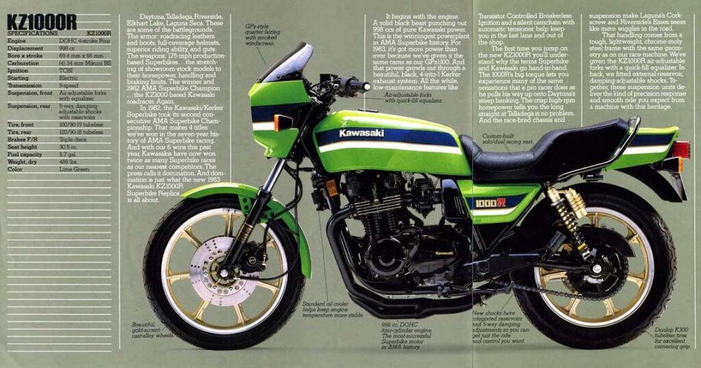 A magazine spread of the original Eddie Lawson replica, the KZ1000R