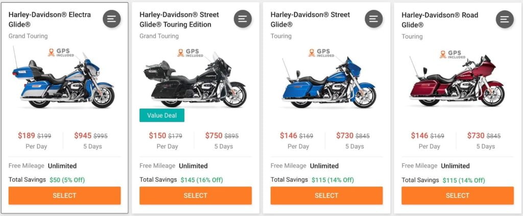 Harley-Davidsons for rent on other motorcycle rental platforms