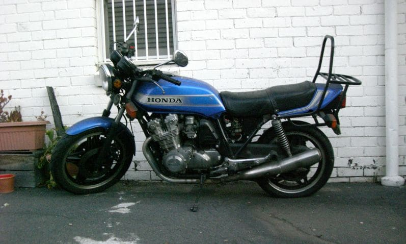 My sad CB900F for sale with a flat rear tyre