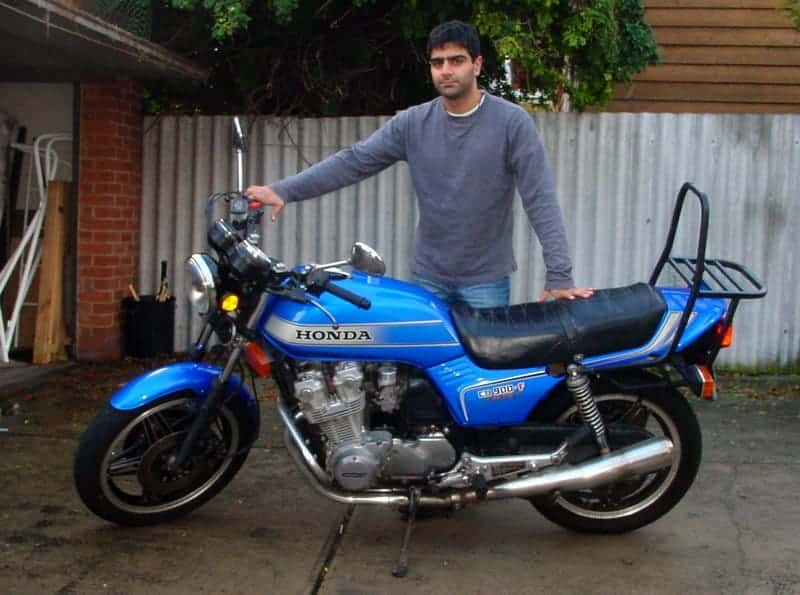 The author with his 1981 Honda CB900F Bol d'Or, with a trendy luggage wrack