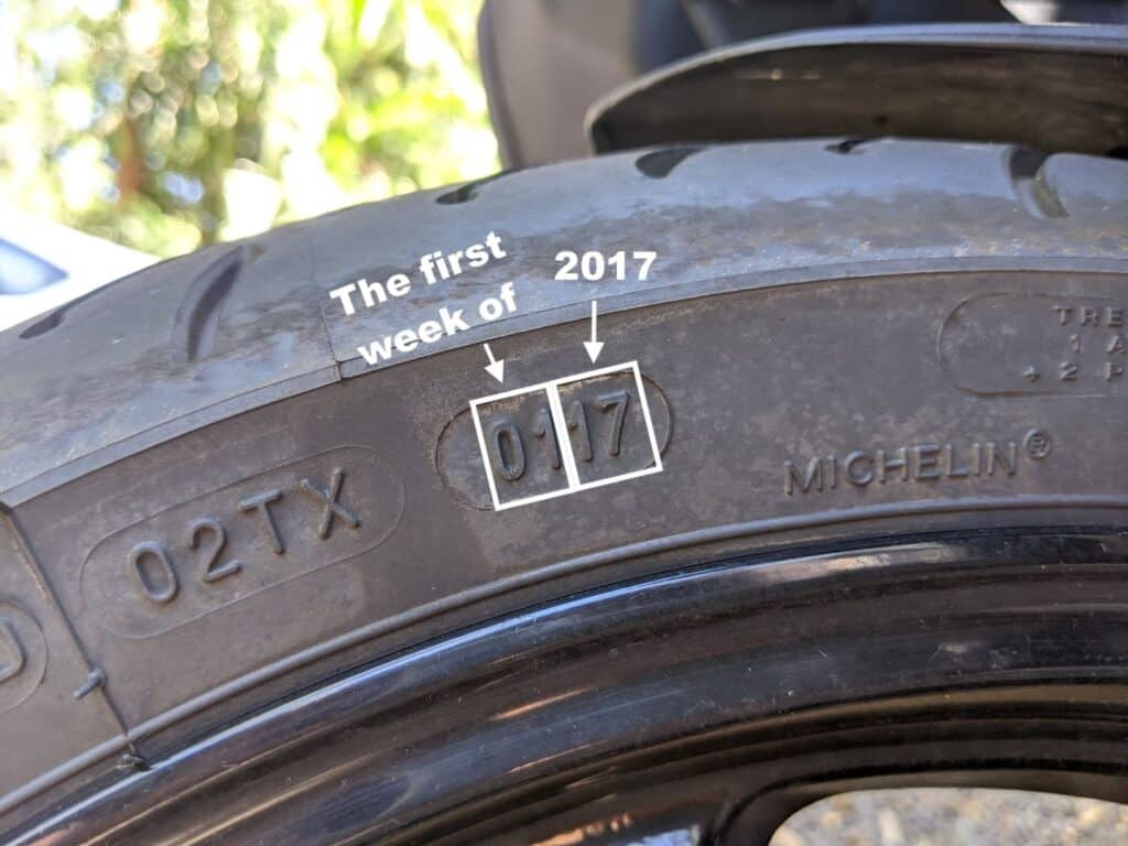 Example of motorcycle tire date codes