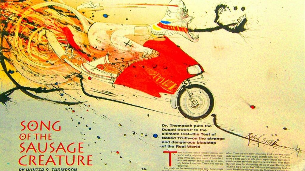 Original Cycle World print of Song of the Sausage Creature by Hunter S Thompson