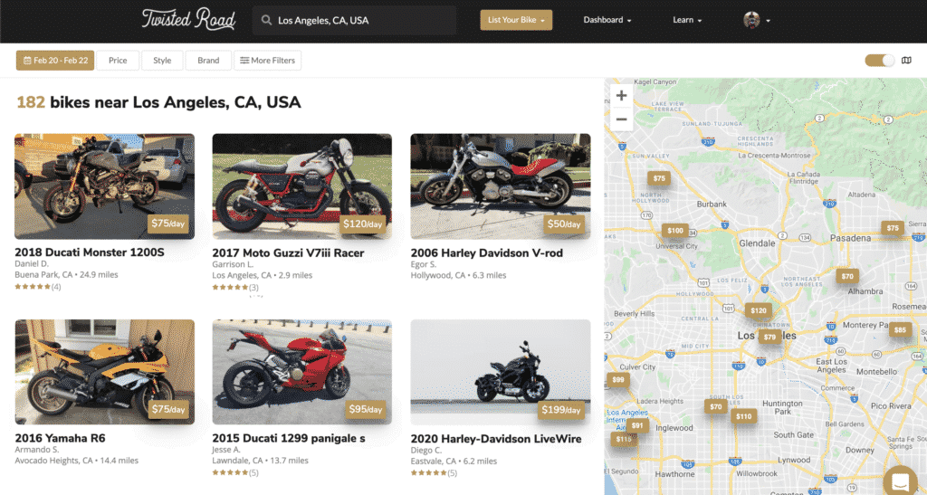 Twisted road motorcycles available near Los Angeles, CA