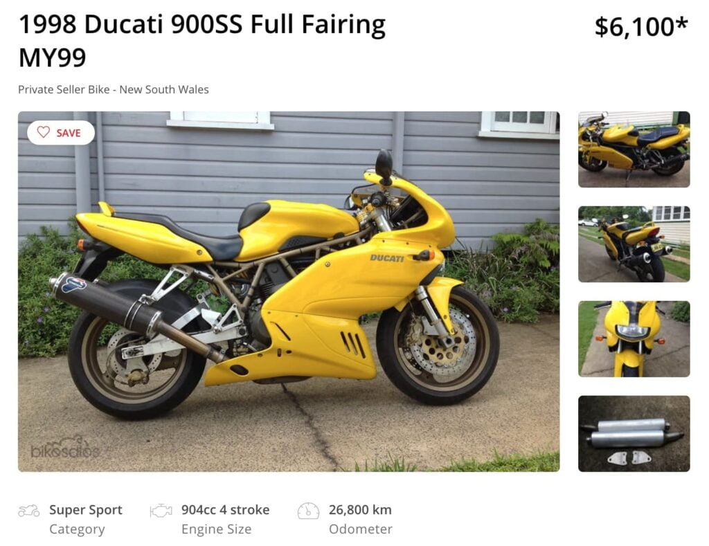 yellow ducati 900ss for sale in australia