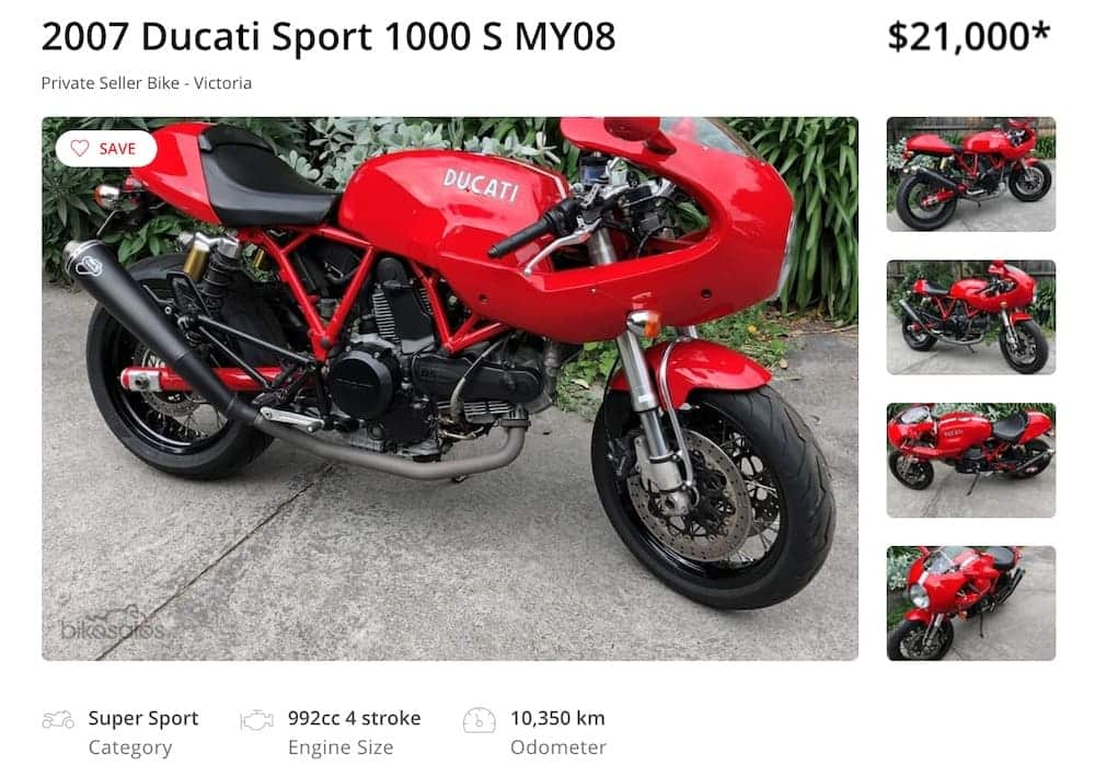 Ducati Sport with a termignoni exhaust for sale in Australia