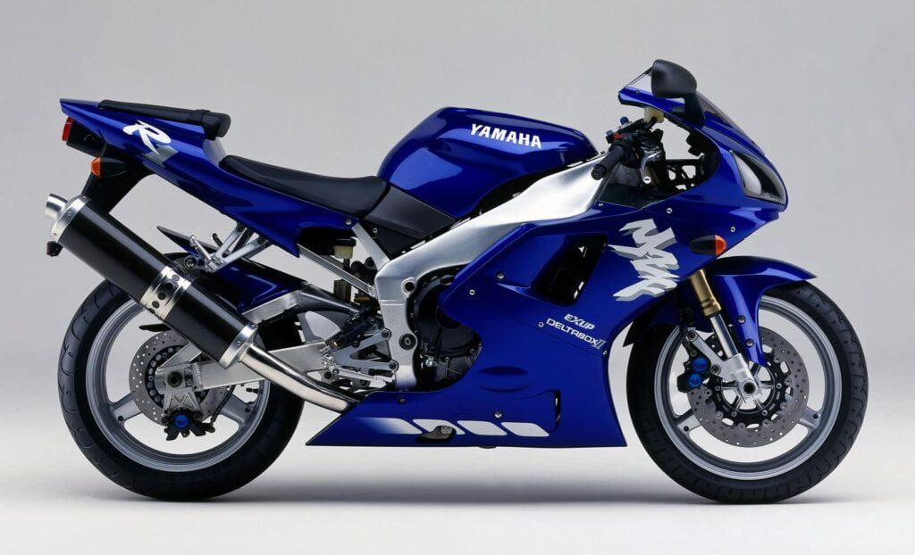 A 1st generation Yamaha R1, also in blue