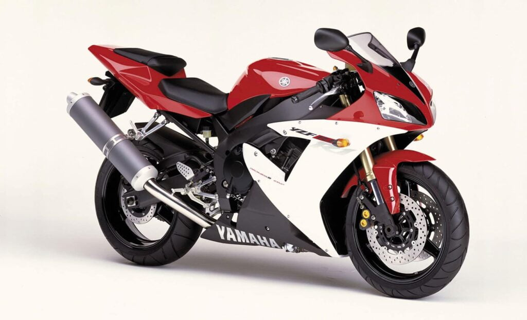 Third generation 2002-2003 Yamaha R1, in red, white and black