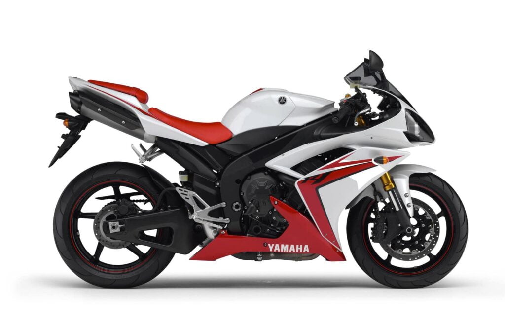 2007-2008 Fifth Generation Yamaha R1 in red, white, and black