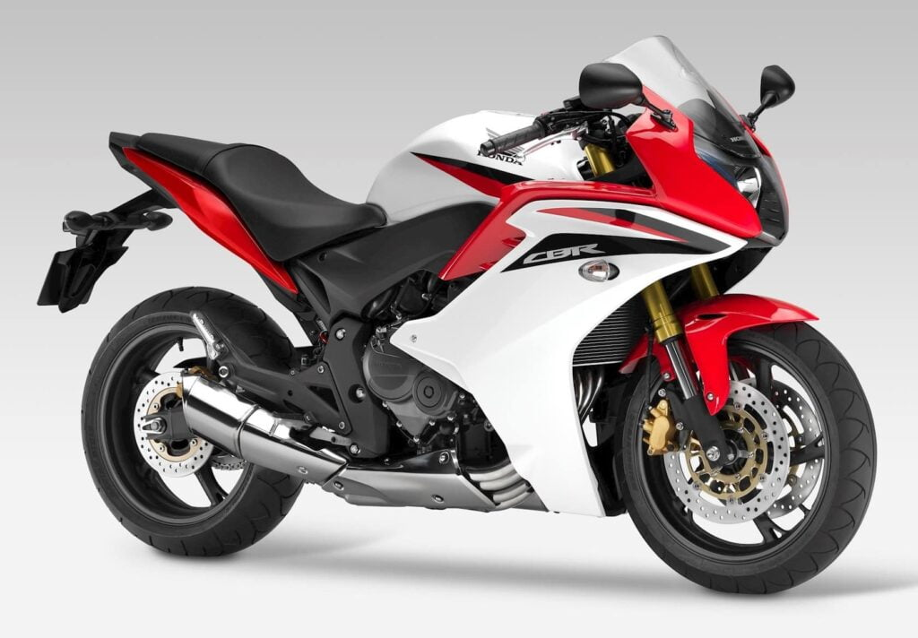 Red and white Honda CBR600F