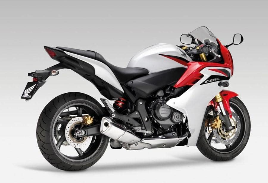 Red and white Honda CBR600F 2