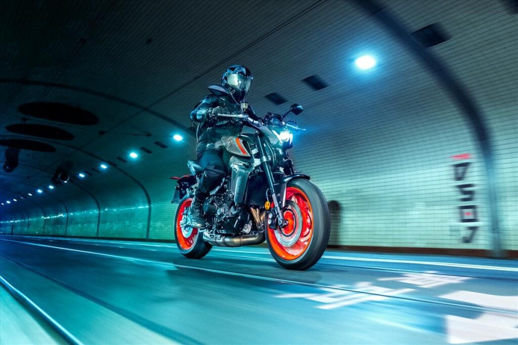 2021 Yamaha MT-09 in highway improved lighting