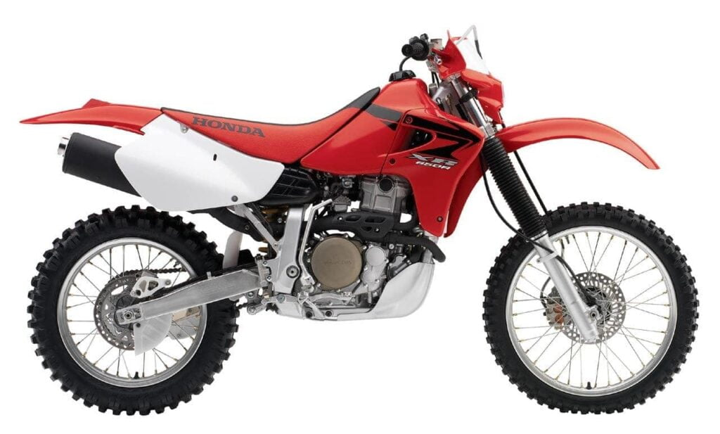 Unmodified and stock Red Honda XR650R - dirt bike that is great for off-road adventure travel