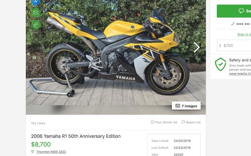 A 2006 Anniversary Edition Used Yamaha R1 for sale in Australia