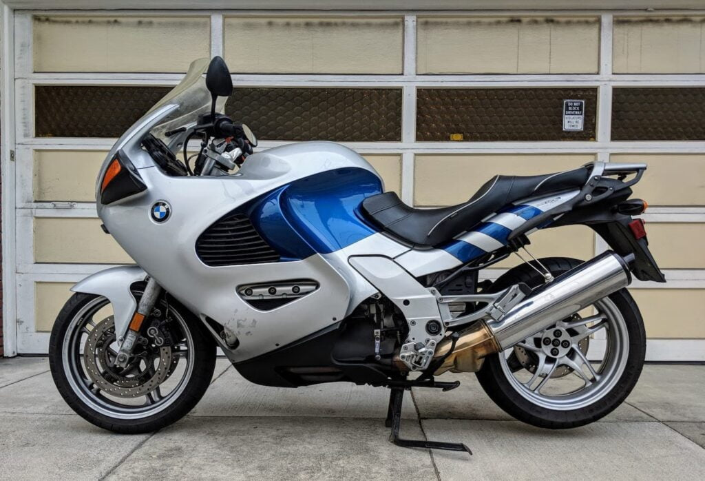 BMW K1200RS without the factory luggage it came with.