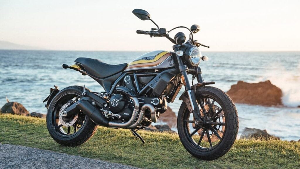 Ducati scrambler by the beachside. This is the main alternative to the triumph scrambler