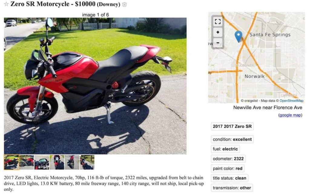 Used Zero SR on Craigslist, showing a large price drop after only two years