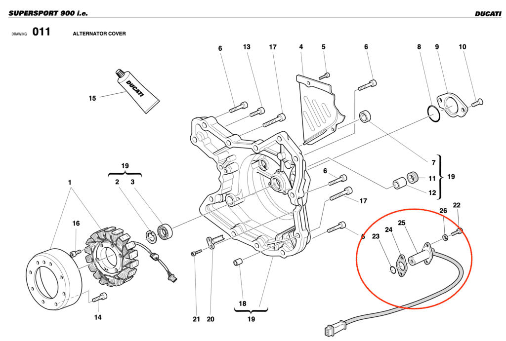 The crankshaft position sensor in my motorcycle parts catalogue.
