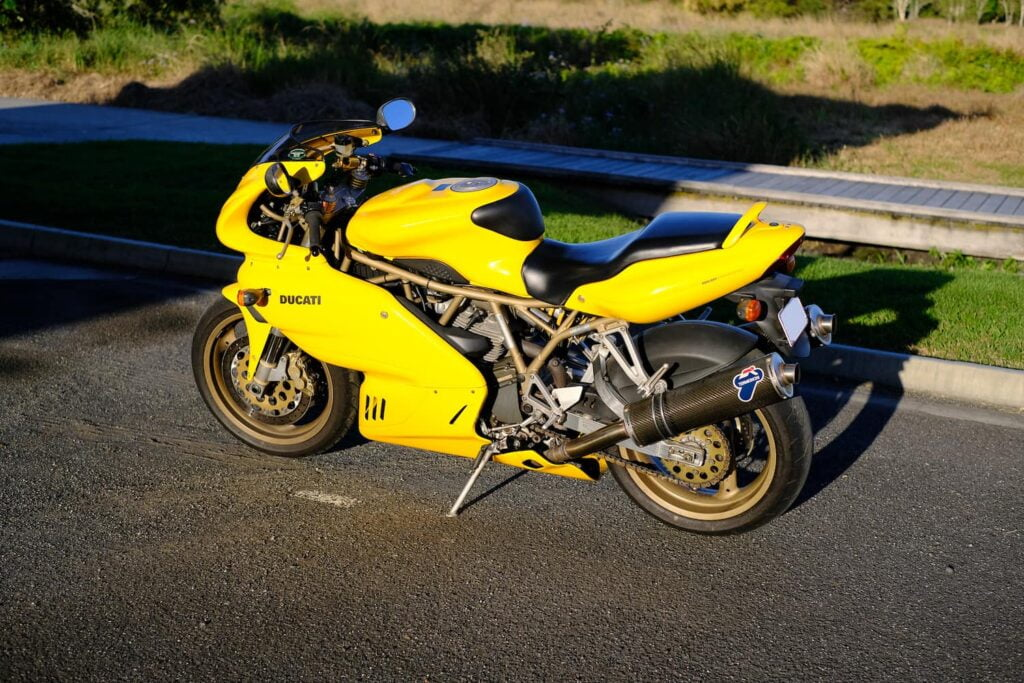 Yellow Ducati Supersport 900 900SS - left side view