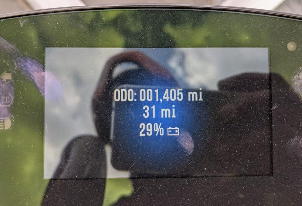 Range on a Harley-Davidson LiveWire - display on screen