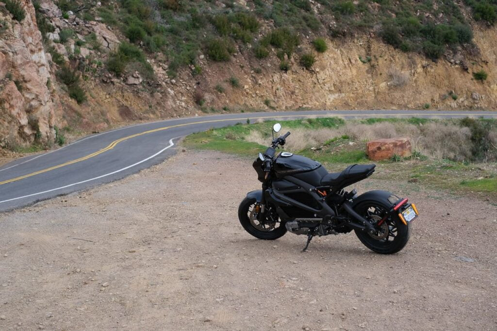 They Harley-Davidson LiveWire parked in the Santa Monica hills