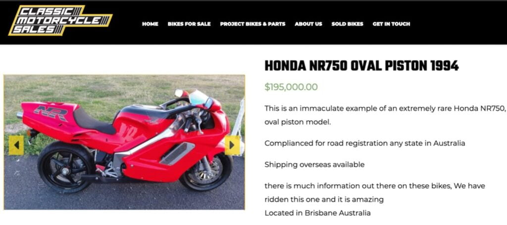 A Honda NR750 for sale for A$195,000