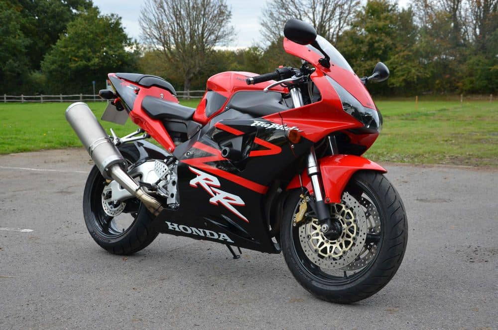 Red and black Honda CBR954RR FireBlade with Micron exhaust