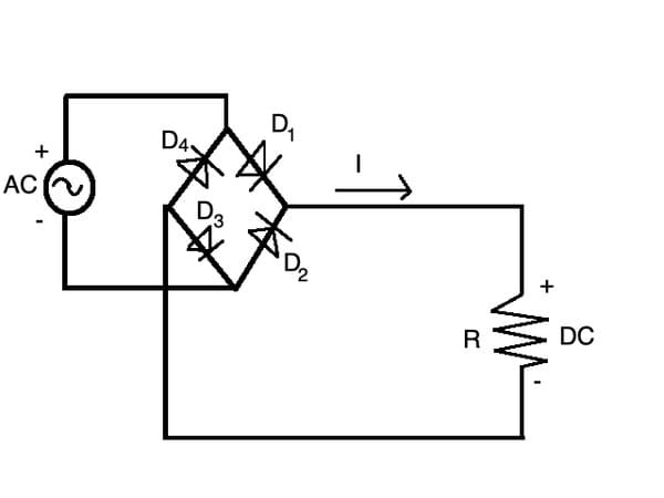 """Circuit of a """"full-wave"""" rectifier. No matter which direction the AC swings, this outputs positive DC voltage"""