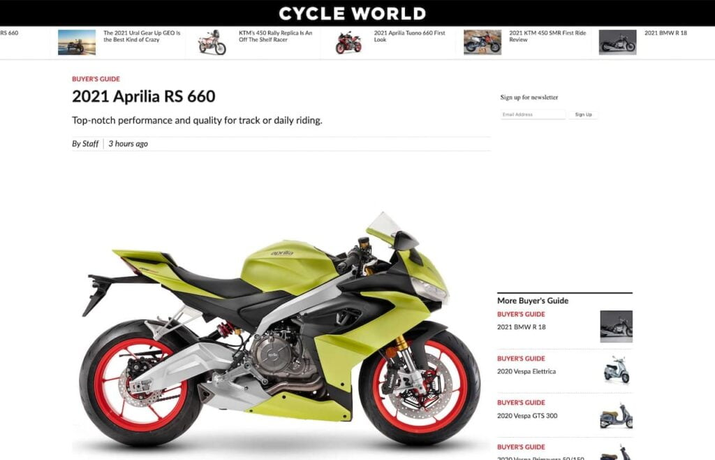 motorcycle photography example showing side-on photo of Aprilia RS660