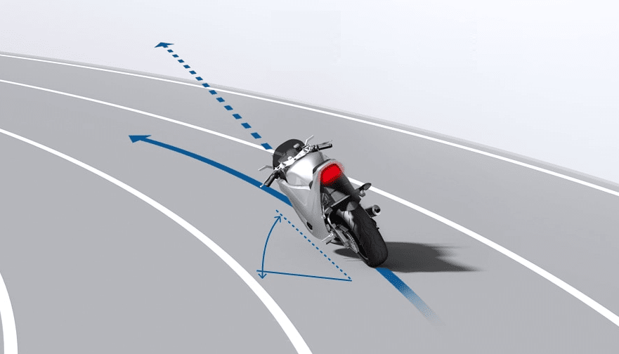 image from Bosch showing the different trajectories of ABS or lean angle sensitive ABS