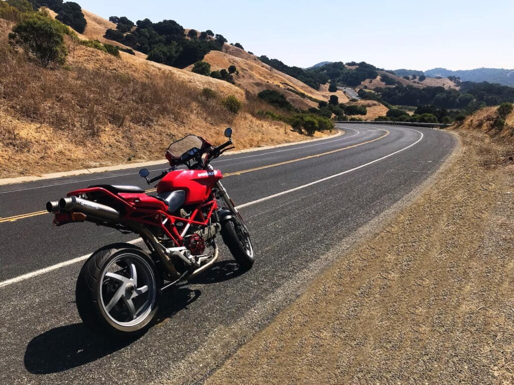 Naked Ducati Multistrada a.k.a. MonsterStrada/MultiMonster, on a California road