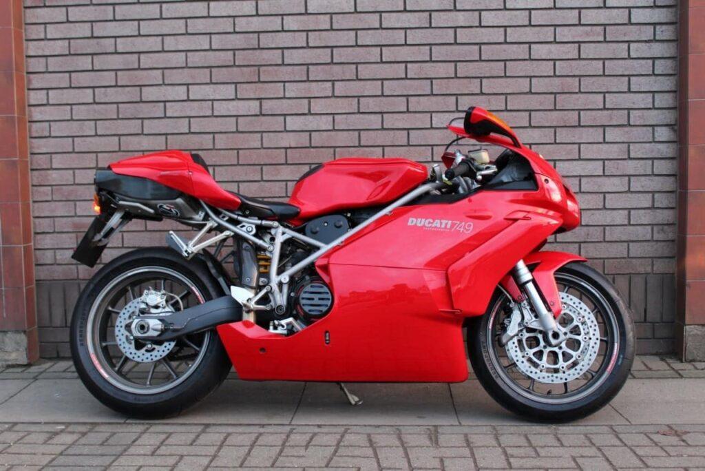a red Ducati 749, a classic ducati superbike