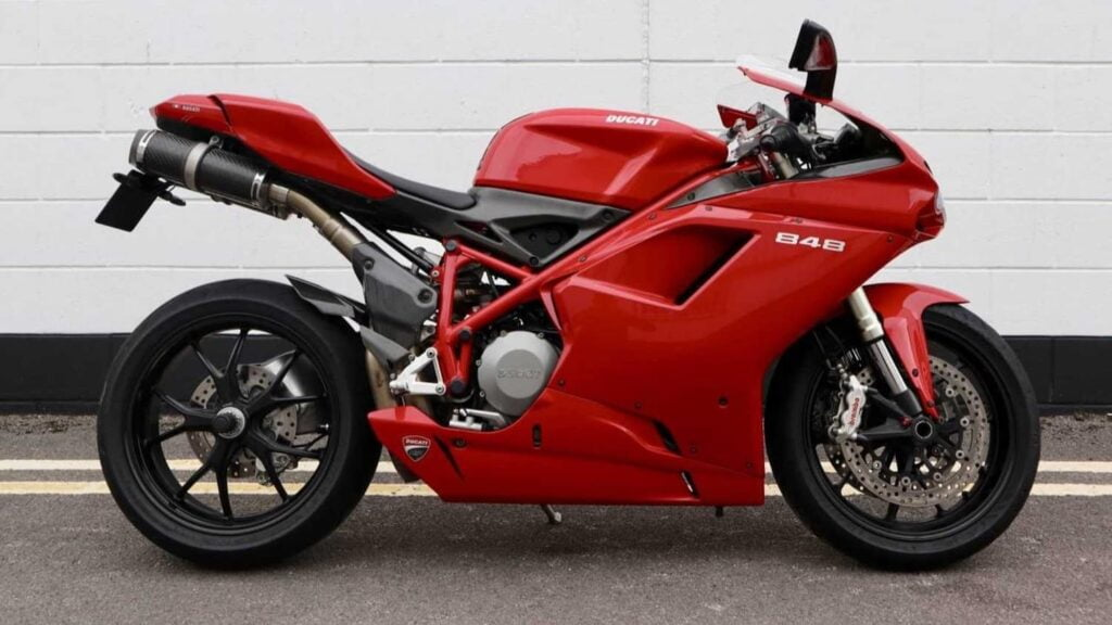 Red Ducati 848 in stock form