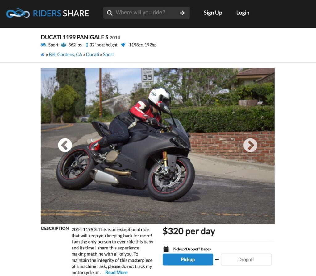 Guillermo Cornejo's Ducati Panigale 1199S for rent on Riders Share