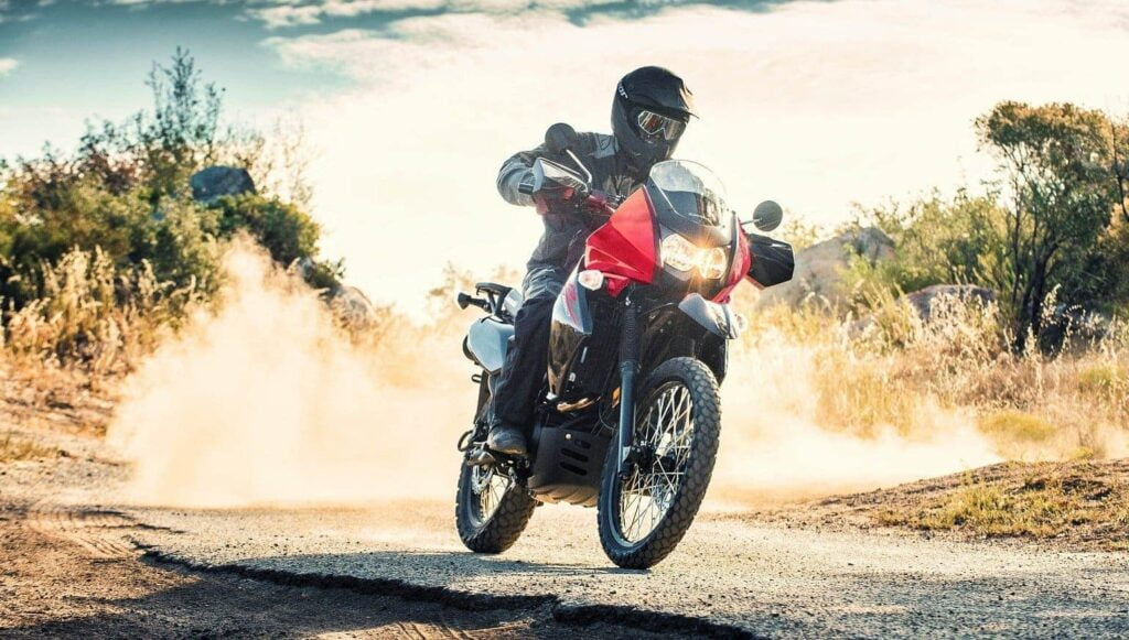 Best thumper motorcycle for adventure travel, the Kawasaki KLR650