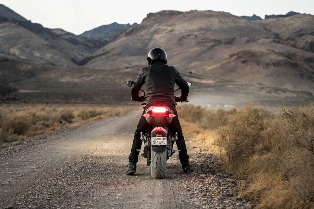 The Zero SR/F electric motorcycle on a country road