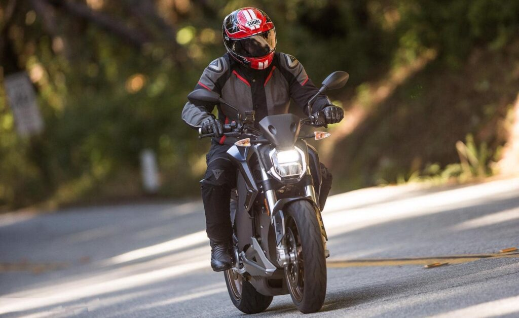 The riding position for the Zero SR/F — slightly forward, but not like a sports motorcycle