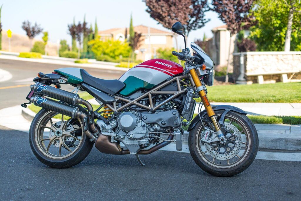 Ducati Monster S4R Tricolore with Termignoni exhausts and single-sided swing-arm