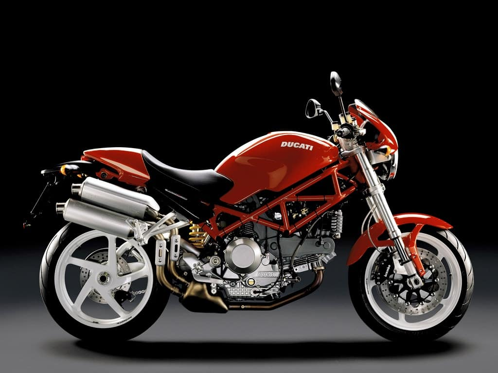 Ducati Monster S2R800 - red body and frame, with white wheels
