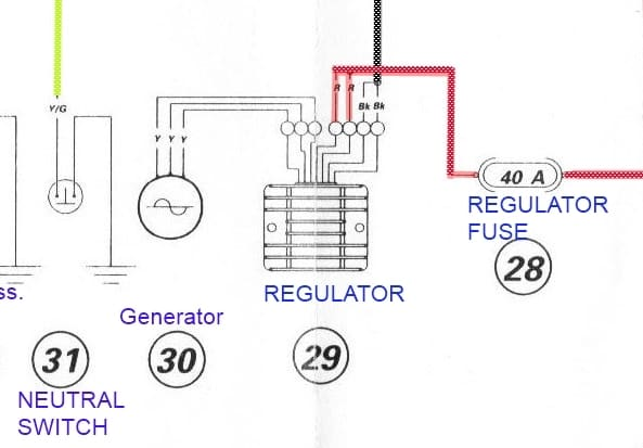 Regulator/Rectifier section in charging system part from Ducati