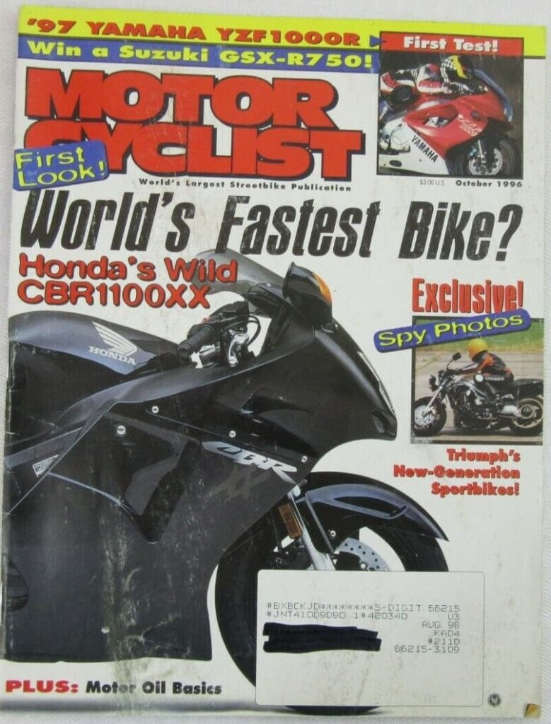 Cover from Motorcyclist Magazine October 1996 with article about motorcycle engine oil
