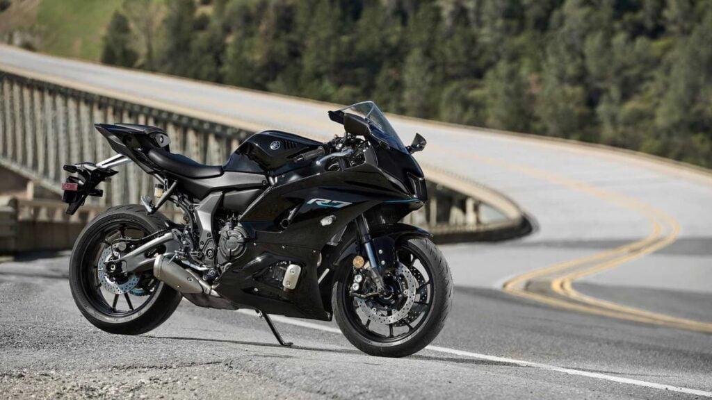 Black 2021 Yamaha YZF-R7 on twisty road