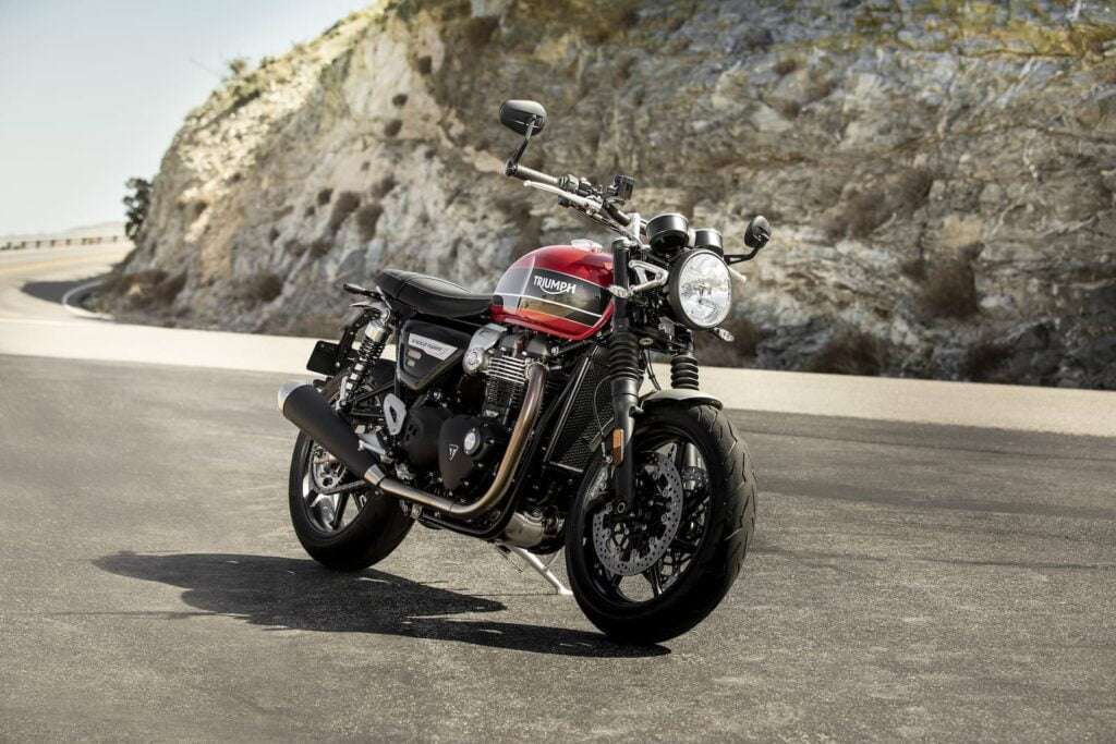 2019 Triumph speed twin on road by mountain