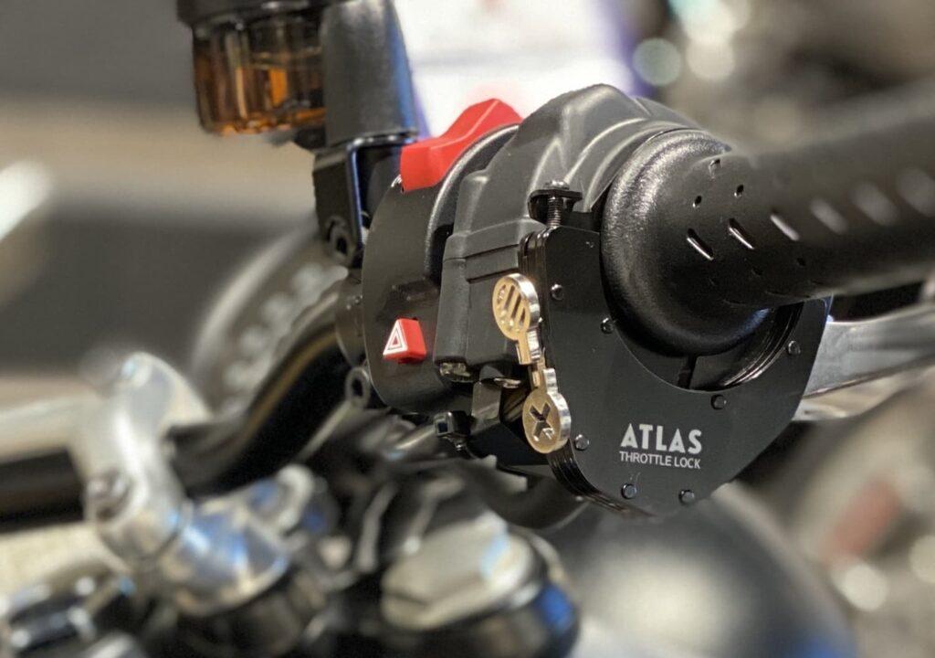 Atlas Throttle Lock motorcycle cruise control installed on motorcycle handlebar